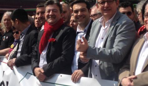 Lean-Luc Mélenchon, Alexis Tsipras Pierre Laurent, conduisant la marche